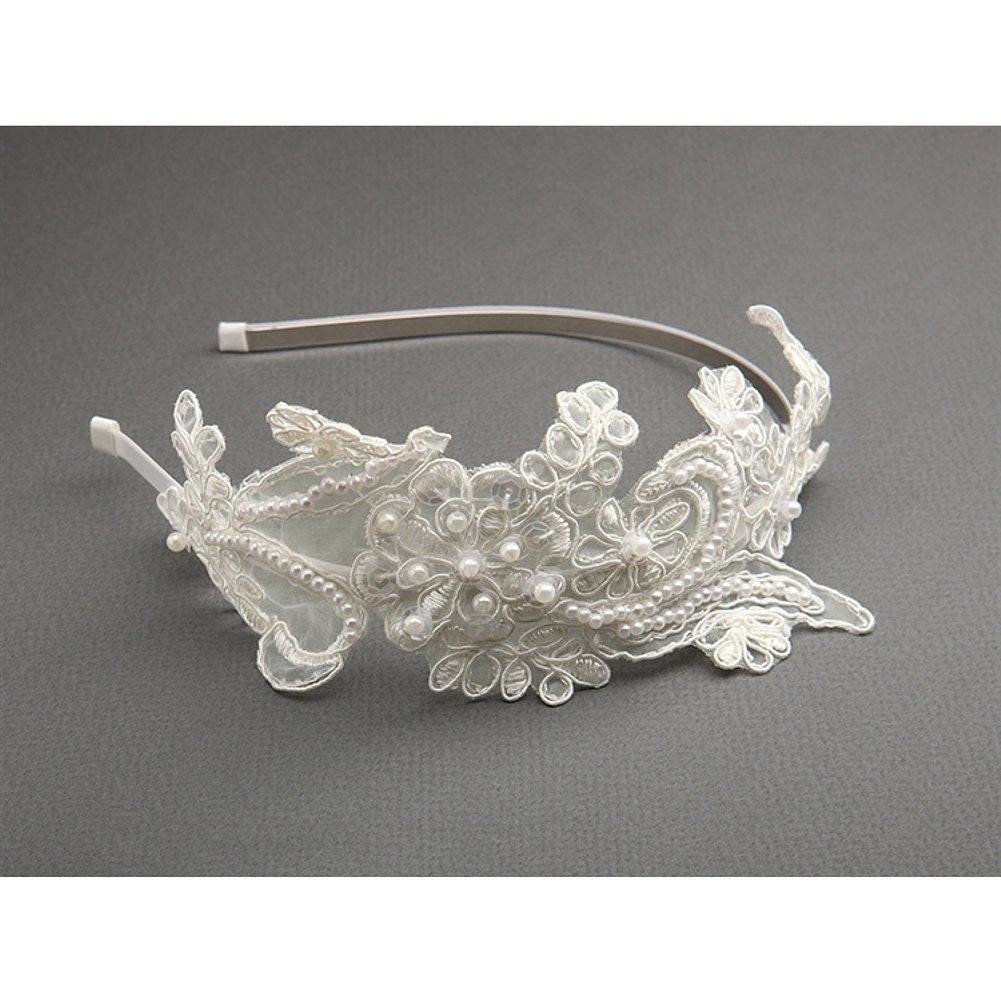 Vintage Ivory Lace Headband with Pearls and Sequins - Sophie's Favors and Gifts