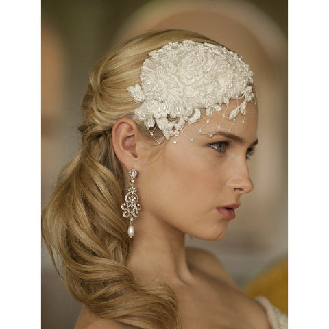 Retro Lace and Silk Bridal Cocktail Hat with Wide Netting - Sophie's Favors and Gifts