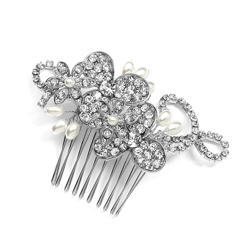 Antique Floral Bridal Comb with Freshwater Pearl Sprays and Graceful Rhinestone Vines - Sophie's Favors and Gifts