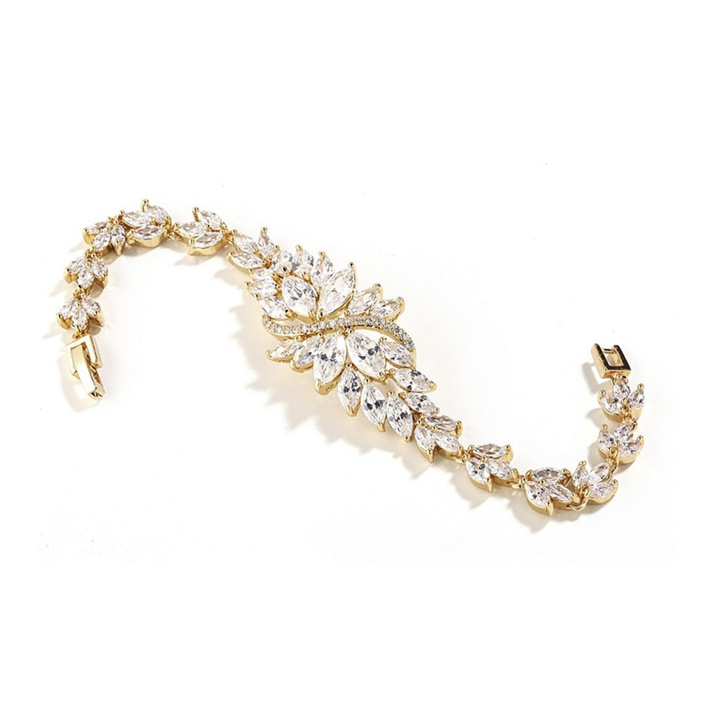 Cubic Zirconia Cluster Gold Bridal Bracelet with Dainty Marquis Stones - Sophie's Favors and Gifts