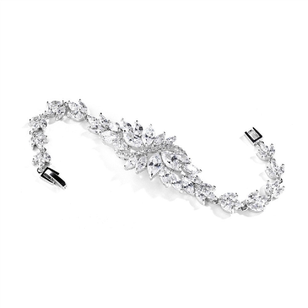 Cubic Zirconia Cluster Bridal Bracelet with Dainty Marquis Stones - Sophie's Favors and Gifts