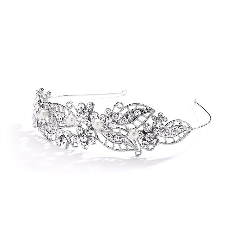 Antique Filigree Wedding Headband or Bridal Tiara with Leaves and Pearls - Sophie's Favors and Gifts