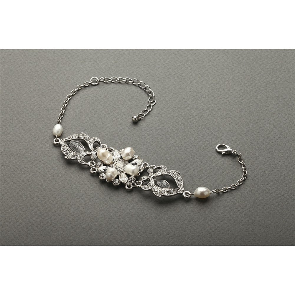 Top-Selling Freshwater Pearl and Crystal Wedding Bracelet - Sophie's Favors and Gifts