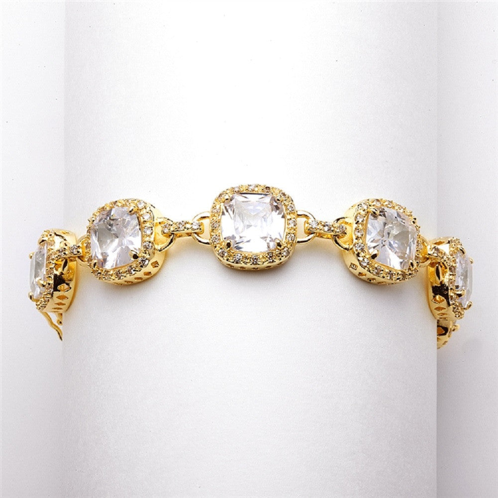 Plus Size 8in. Magnificent Cushion Cut CZ Gold Bridal Bracelet - Sophie's Favors and Gifts
