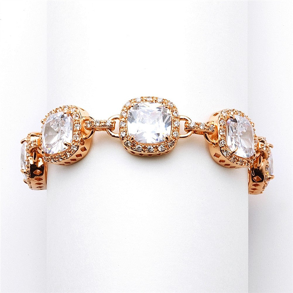 Magnificent Rose Gold Petite Length Cushion Cut CZ Bridal or Pageant Bracelet - Sophie's Favors and Gifts