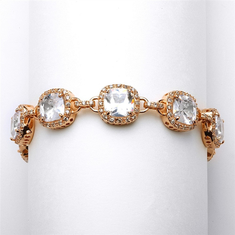 Magnificent Cushion Cut CZ Rose Gold Bridal or Pageant Bracelet - Sophie's Favors and Gifts