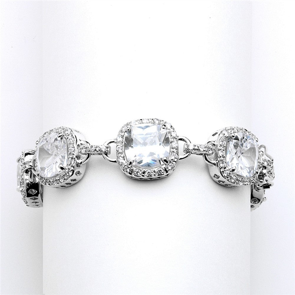 Magnificent Cushion Cut Cubic Zirconia Bridal or Pageant Bracelet - Sophie's Favors and Gifts