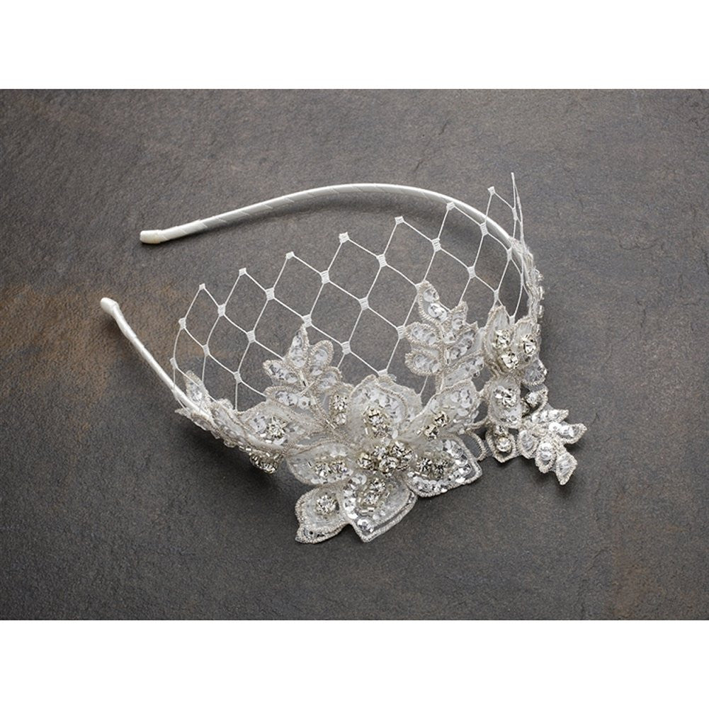 Luxurious Crystal Embellished Lace Wedding Headband with Wide Netting - Ivory, lace bridal headband, headband with crystals, bridal headpiece, wedding headpiece, Wedding Hair Accessories