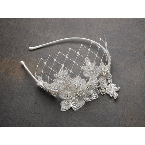 Luxurious Crystal Embellished Lace Wedding Headband with Wide Netting - Ivory - Sophie's Favors and Gifts