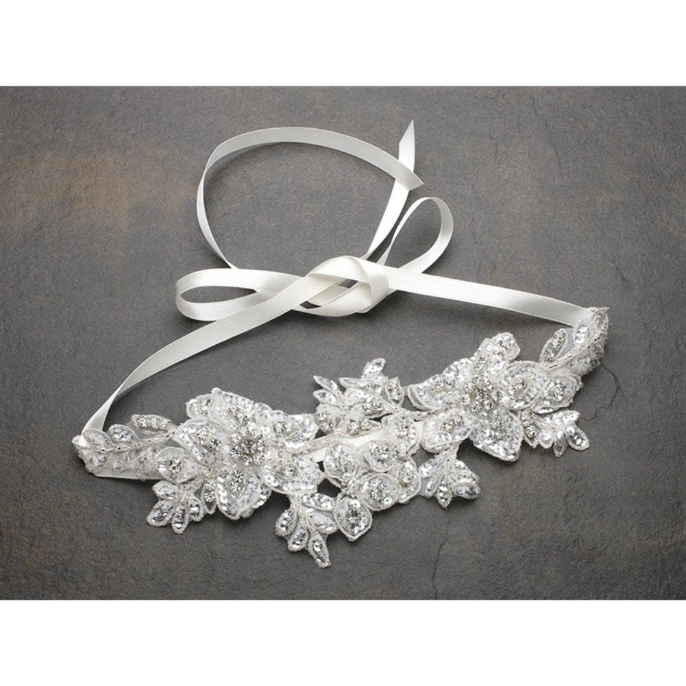 Sculptured Ivory Lace Wedding Headband with Crystals and Beads - Sophie's Favors and Gifts