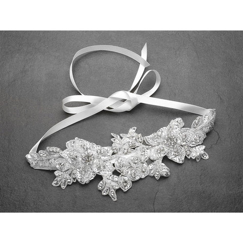 Sculptured White Lace Wedding Headband with Crystals and Beads - Sophie's Favors and Gifts