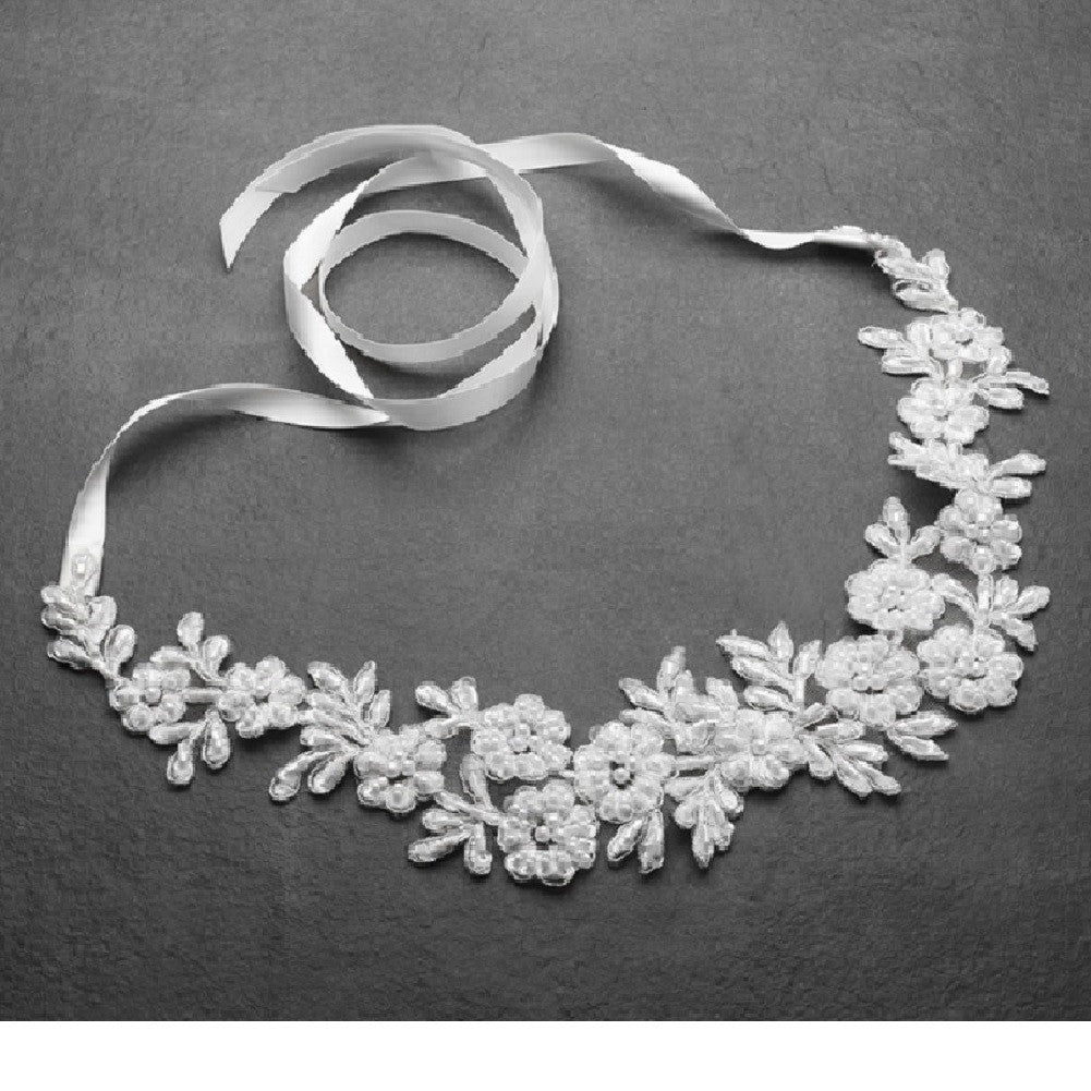 White Lace Applique Garden Wedding Headband with Meticulous Edging - Sophie's Favors and Gifts