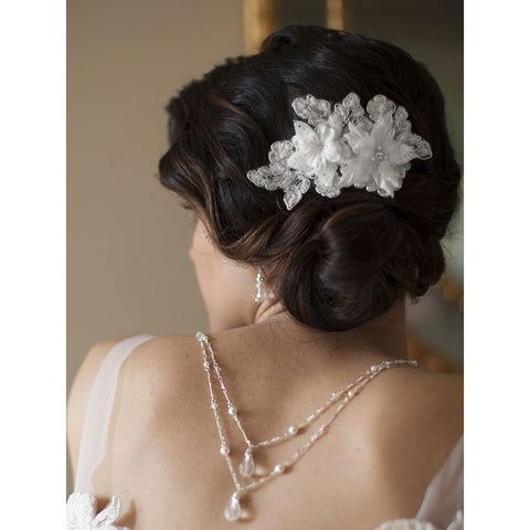 Sophisticated Handmade Bridal Comb with White Beaded Floral Lace Applique - Sophie's Favors and Gifts