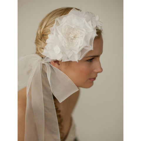 Handmade Ivory Silk Flower Bridal Headband with Wide Sheer Ribbon - Sophie's Favors and Gifts