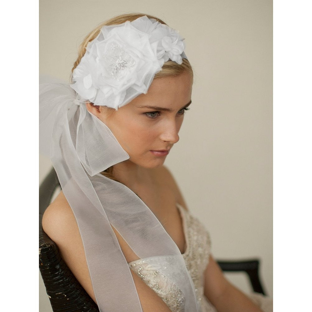Handmade White Silk Flower Bridal Headband with Wide Sheer Ribbon - Sophie's Favors and Gifts