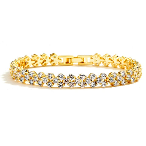 Elegant Gold Cubic Zirconia Wedding or Prom Tennis Bracelet - Sophie's Favors and Gifts