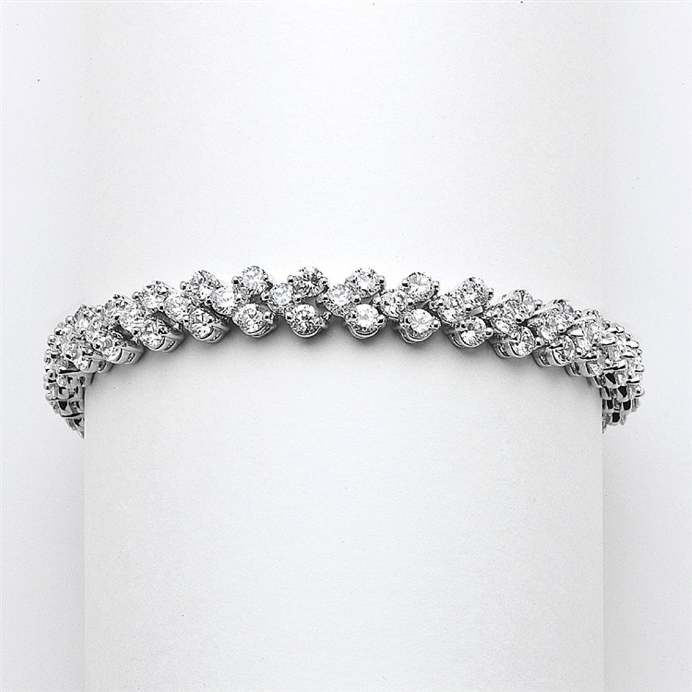 Elegant Silver Rhodium Cubic Zirconia Wedding or Prom Tennis Bracelet - Sophie's Favors and Gifts