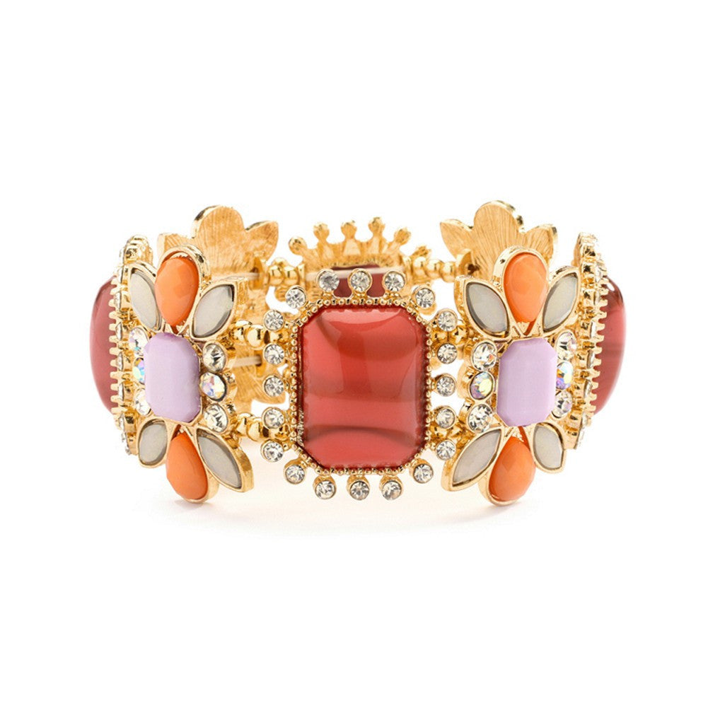 Gorgeous Crystal, Coral and Opaque Pastel Stretch Bracelet - Sophie's Favors and Gifts