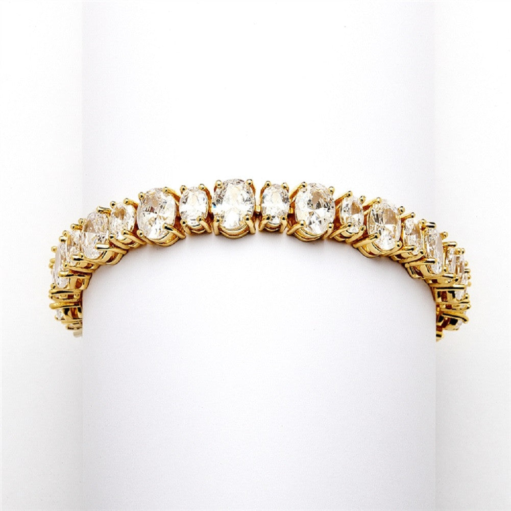 Spectacular Multi Ovals Gold Cubic Zirconia Wedding or Pageant Bracelet - Sophie's Favors and Gifts
