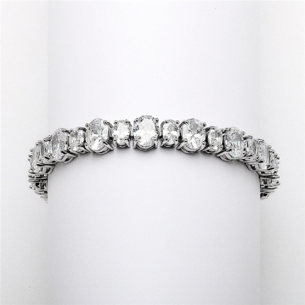 Spectacular Multi Ovals Silver Rhodium Cubic Zirconia Wedding or Pageant Bracelet - Sophie's Favors and Gifts