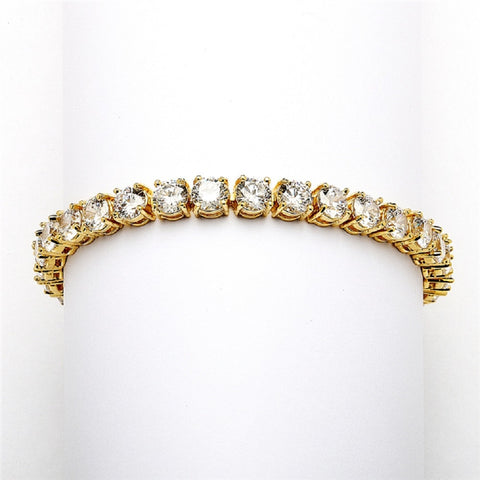 Glamorous 14K Gold Plated Bridal or Prom Tennis Bracelet in Petite Size - Sophie's Favors and Gifts