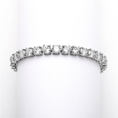 Glamorous Silver Rhodium Bridal or Prom Tennis Bracelet in Petite Size - Sophie's Favors and Gifts