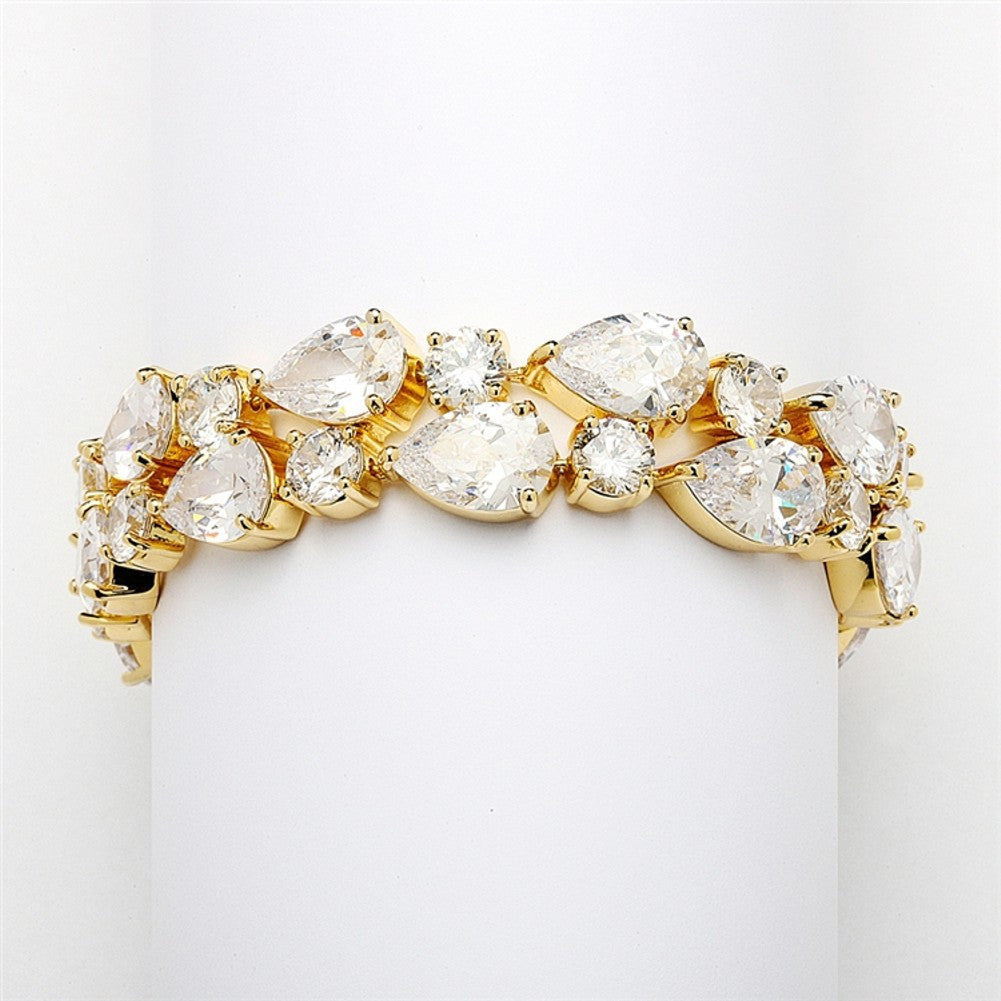 Red Carpet Bold CZ Pears Bridal Statement Bracelet in 14K Gold Plating - Sophie's Favors and Gifts