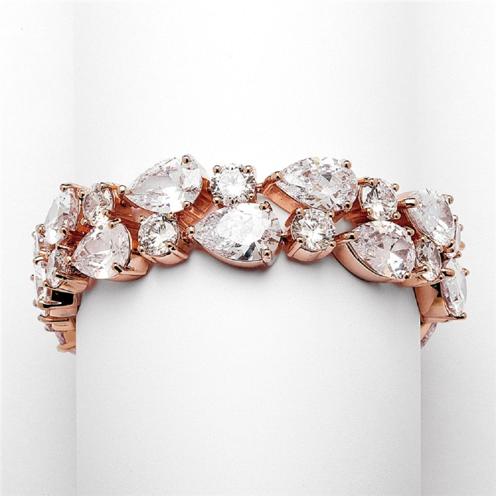Red Carpet Bold CZ Pears Bridal Statement Bracelet in Rose Gold - Sophie's Favors and Gifts