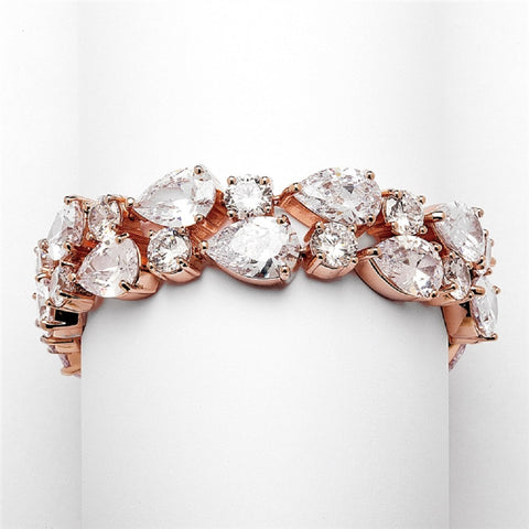Red Carpet Bold CZ Pears Bridal Statement Bracelet in Rose Gold, petite wrist bracelet, cubic zirconia wedding bracelet, rose gold bracelet, cubic zirconia wedding bracelet, Wedding & Prom Jewelry