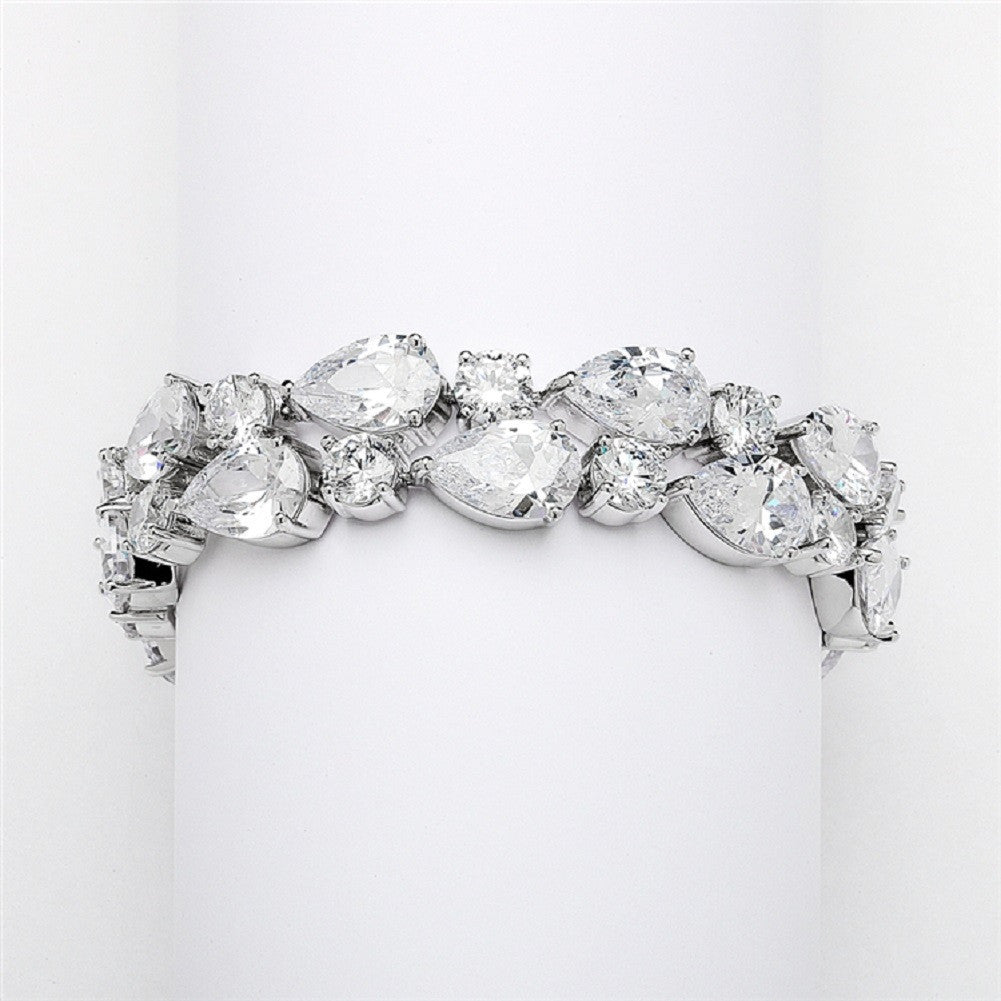 Red Carpet Bold CZ Pears Bridal Statement Bracelet in Silver Rhodium - Sophie's Favors and Gifts