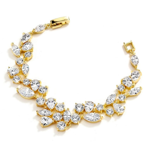 Top Selling Mosaic Shaped CZ Wedding Bracelet in 14K Gold Plating - Petite Size, cz bracelet, cubic zirconia wedding bracelet, faux diamond bracelet, bridesmaids bracelets, Wedding & Prom Jewelry