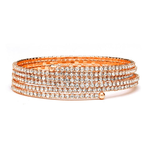 Rose Gold 5-Row Delicate Rhinestone Coil Bracelet, cheap coil bracelet, rhinestone fashion bracelet, faux coil bracelet, rose gold fashion jewelry, Wedding & Prom Jewelry