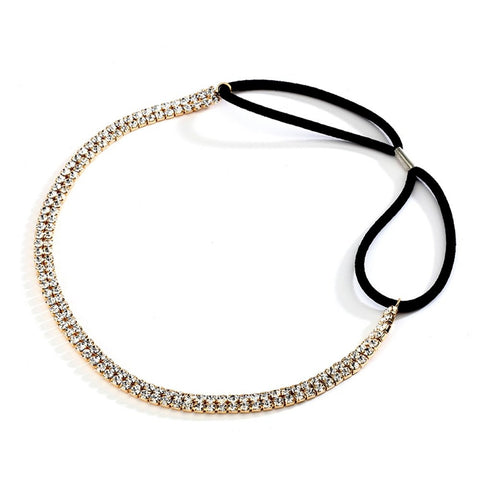 2-Row Gold Rhinestone Adjustable Stretch Headband - Sophie's Favors and Gifts
