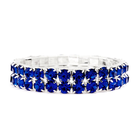 Bold Size Rhinestone Stretch Bracelet in Royal Blue, blue rhinestone bracelet, bracelet with blue rhinestones, blue bracelets, royal blue bracelet, Wedding & Prom Jewelry