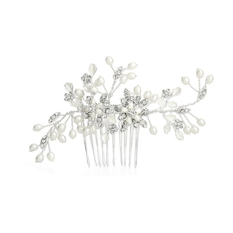 Freshwater Pearl Wedding Hair Comb with Pave Crystal Leaves, hair comb for wedding, wedding hair comb, wedding hair accessories, pearl hair comb, Wedding Hair Accessories