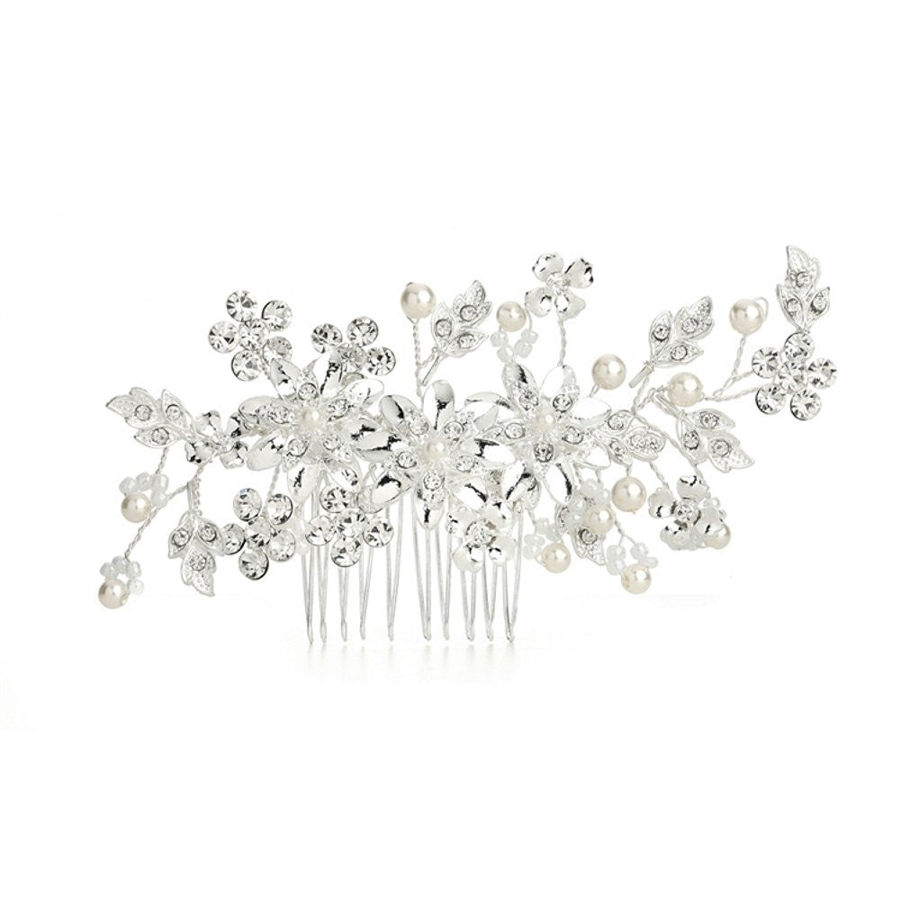 Bridal Hair Comb with Ivory Pearls and Crystal Floral Sprays - Sophie's Favors and Gifts