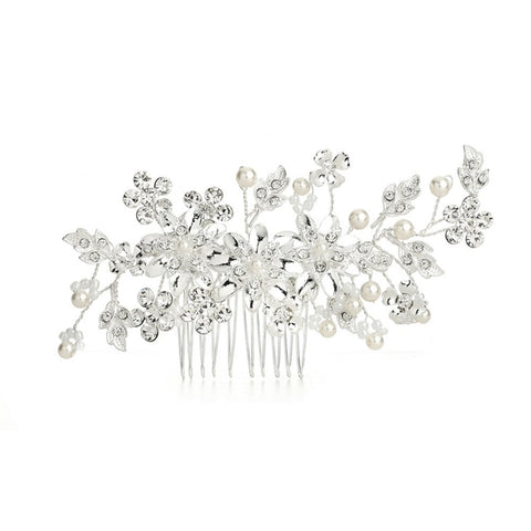 Bridal Hair Comb with Ivory Pearls and Crystal Floral Sprays, hair comb for wedding, wedding hair comb, wedding hair accessories, pearl hair comb, Wedding Hair Accessories