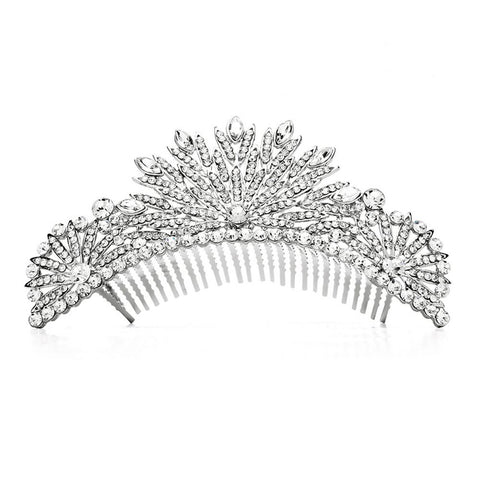 Spectacular Crystal Silver Art Deco Wedding or Prom Tiara Comb - Sophie's Favors and Gifts