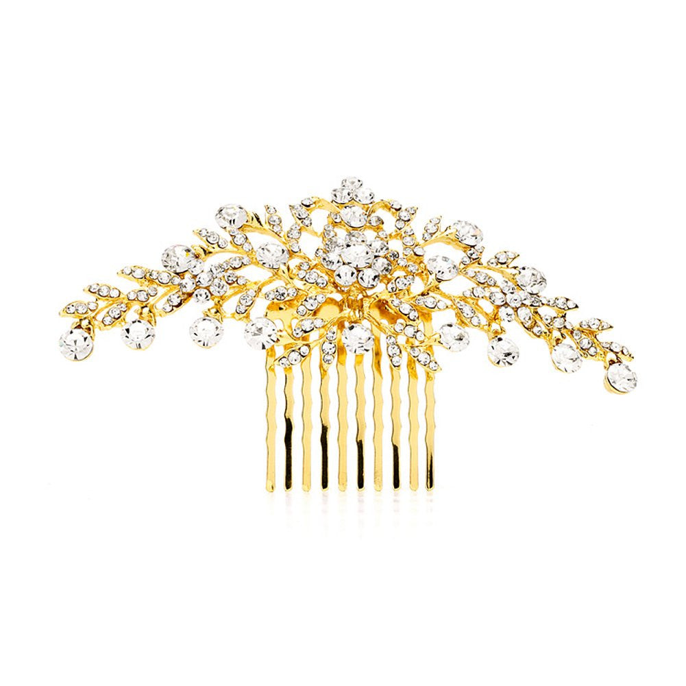 Crystal Comb with Shimmering Gold Leaves, tiara comb, gold wedding comb, bridal comb, wedding hair accessories, Wedding Hair Accessories