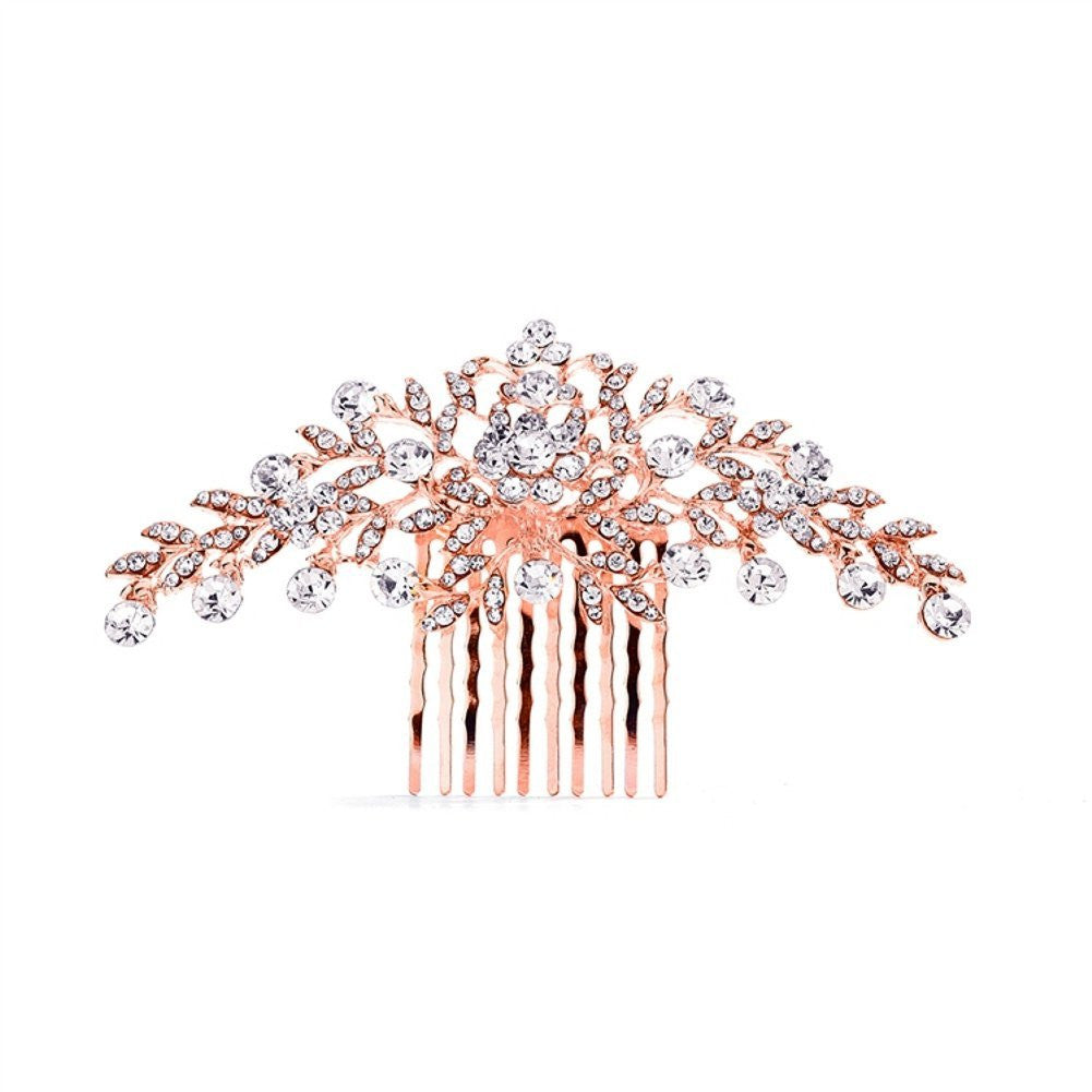 Crystal Comb with Shimmering Rose Gold Leaves - Sophie's Favors and Gifts