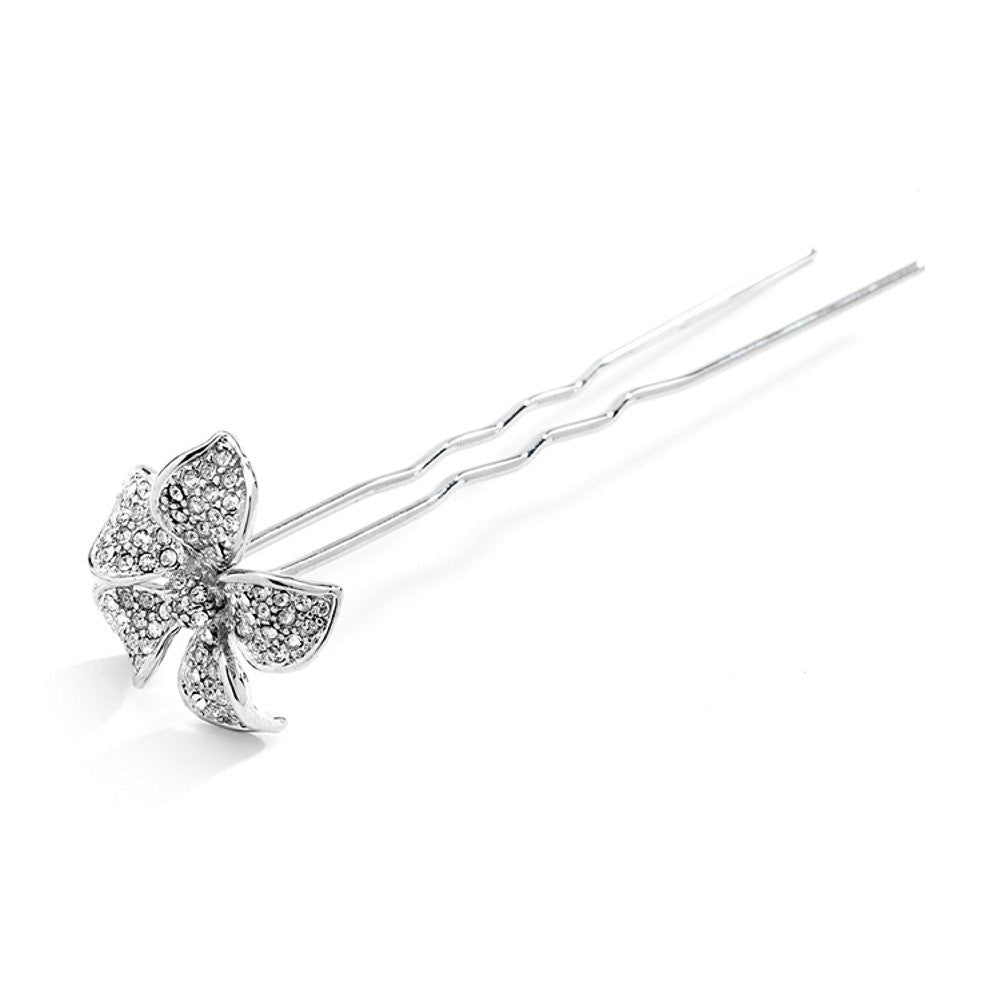 Pave Crystal Petals Hair Stick Pin, bridal hair clip, wedding hair clip, crystal hair stick, bridal hair pin, Wedding Hair Accessories