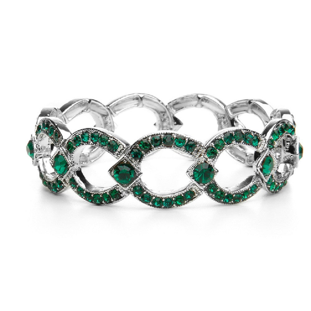 Emerald Crystal Art Deco Links Bracelet - Sophie's Favors and Gifts