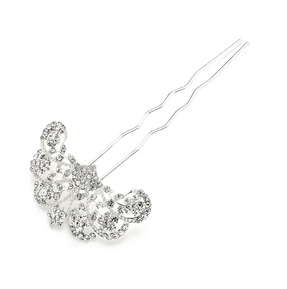 Glamorous Gatsby Fan Shaped Crystal Hair Stick Pin - Sophie's Favors and Gifts