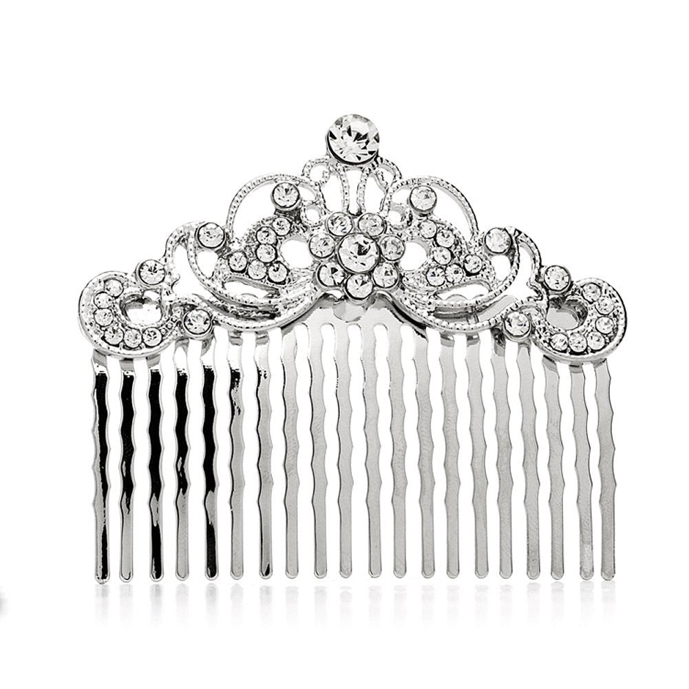 Vintage Crystal Swirls Bridal or Prom Hair Comb - Sophie's Favors and Gifts