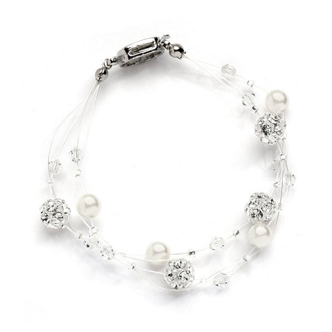 Sarah's Special 2-Row Floating Pearl, Crystal and Rhinestone Fireball Illusion Bridal Bracelet - Sophie's Favors and Gifts