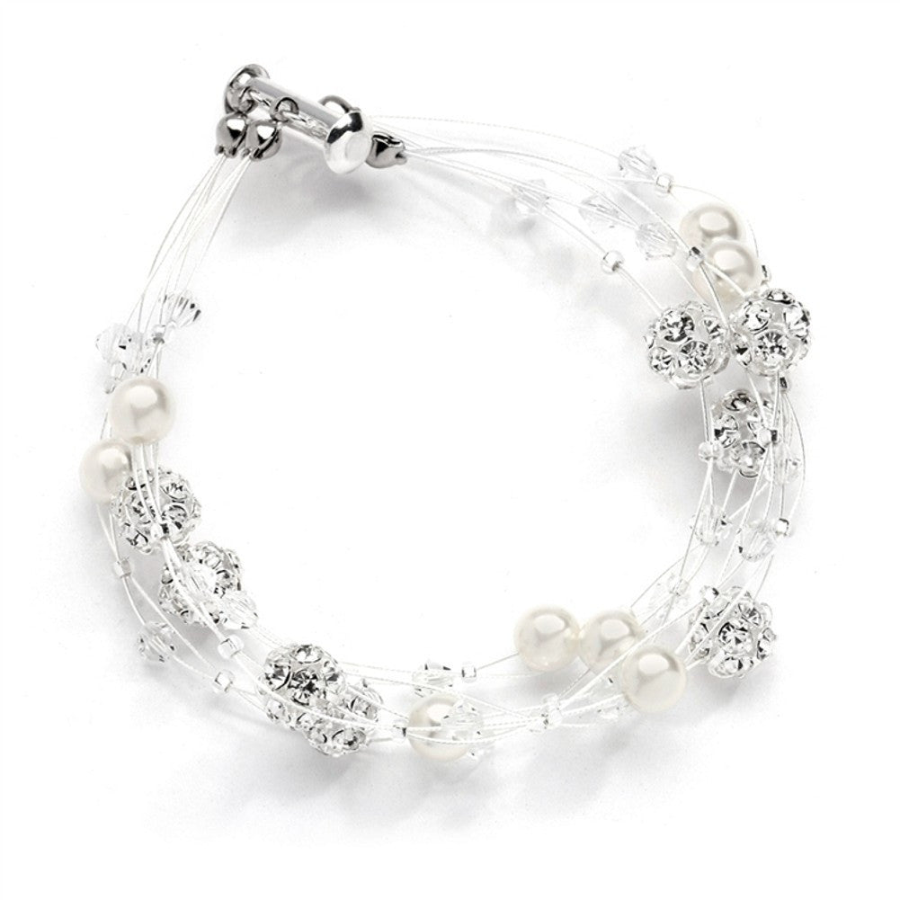 Sarah's Special 4-Row Floating Pearl, Crystal and Rhinestone Fireball Illusion Bridal Bracelet - Sophie's Favors and Gifts
