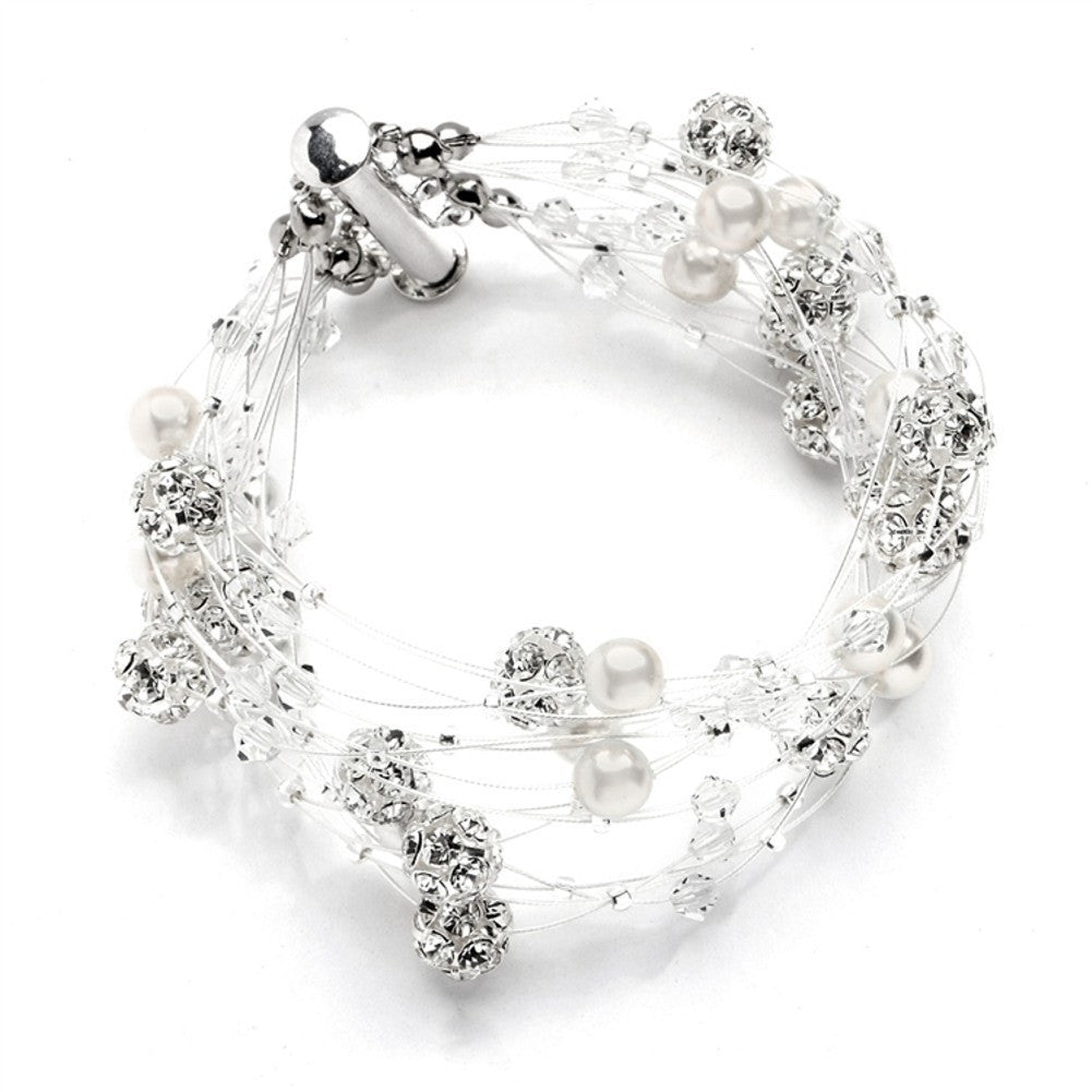 Sarah's Special 8-Row Floating Pearl, Crystal and Rhinestone Fireball Illusion Bridal Bracelet - Sophie's Favors and Gifts