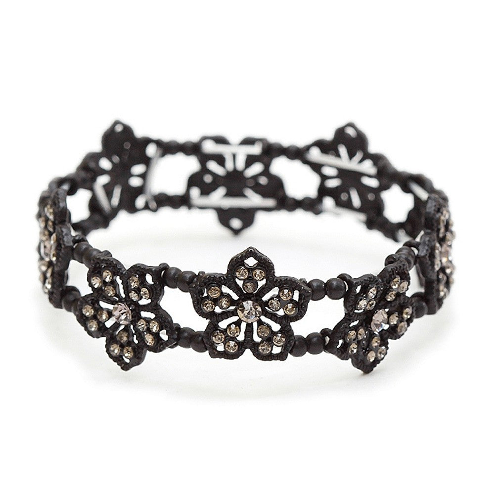 Black Diamond Filigree Flowers Stretch Bracelet for Prom or Homecoming, art deco bracelet, black diamond bracelet, black diamond bridal bracelet, bridesmaids bracelets, Wedding & Prom Jewelry
