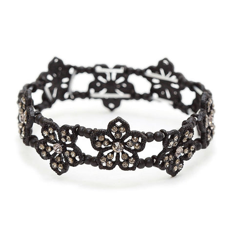 Black Diamond Filigree Flowers Stretch Bracelet for Prom or Homecoming - Sophie's Favors and Gifts