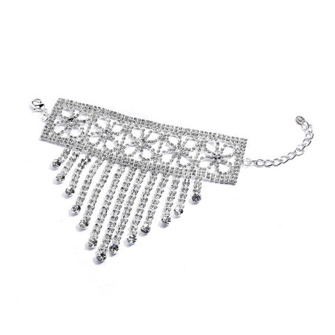 Super Bling Cascading Hand Bracelet with Rhinestone Fringe - Sophie's Favors and Gifts